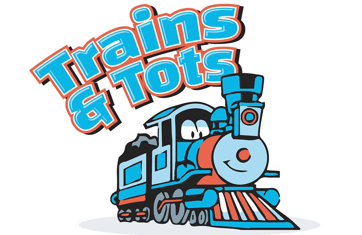 Cartoon train with words Trains & Tots above the train